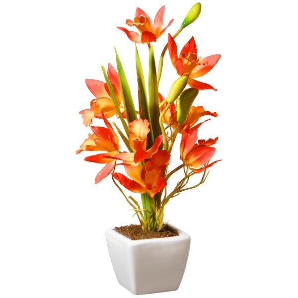 """13"""" Potted Yellow & Orange Orchid Flowers - N/A"""
