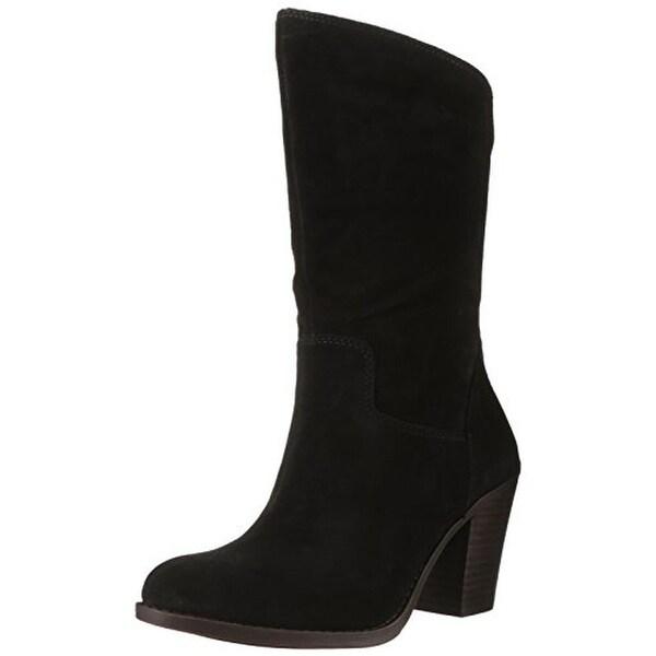 Lucky Brand Womens Embrleigh Mid-Calf Boots Textured Stacked Heel