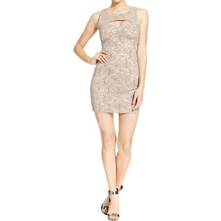 Emerald Sundae Womens Juniors Cocktail Dress Lace Sequined - L
