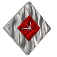 "Statements2000 Red/Silver Metal Wall Clock Modern Art by Jon Allen - Fresh Start Clock - 17"" x 17"""