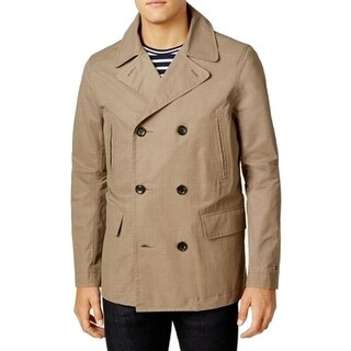 Tommy Hilfiger Beige Mens Size XL Double-Breasted Peacoat Jacket