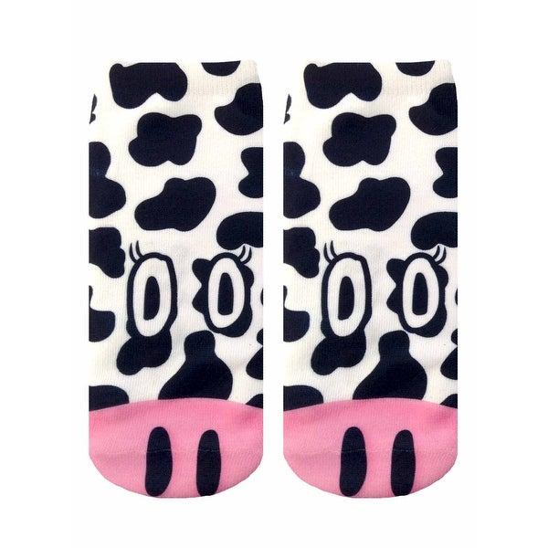 Cow Photo Print Ankle Socks - Black