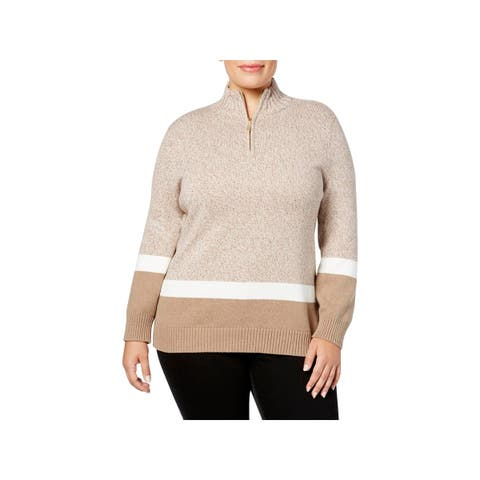 Karen Scott Womens Plus Mock Turtleneck Sweater Knit Colorblock