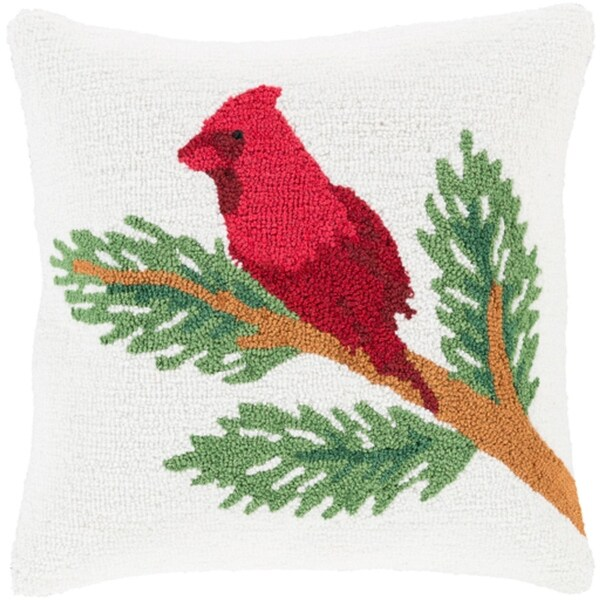 """18"""" Snow White and Brick Red Decorative Cardinal on a Branch Holiday Throw Pillow Cover"""