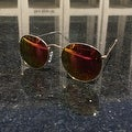 Unisex Round Metal Sunglasses with Thin Temples and Color Mirror Lenses - Thumbnail 1