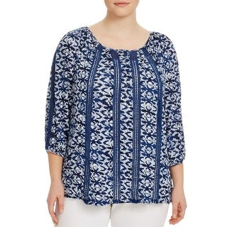 Lucky Brand Womens Plus Tunic Top elbow sleeves Pattern