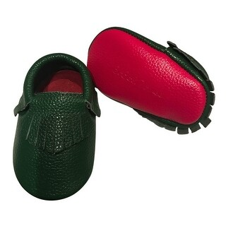 Baby Girls Forest Green Red Soft Sole Faux Leather Tassel Moccasins 3-18M