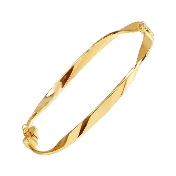 """Just Gold Twisted Hinge Bangle Bracelet in 14K Gold, 7"""" - Yellow"""