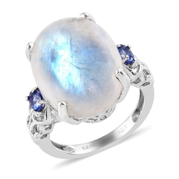 Sterling Silver Moonstone Blue Tanzanite Cocktail Ring Ct 18.1. Opens flyout.