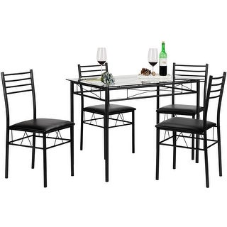 Kitchen Dining Table Set,Glass Table and 4 Chairs(Black/Silver)