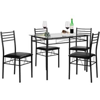 Kitchen Dining Table SetGlass And 4 ChairsBlack Silver