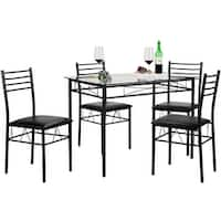 VECELO Glass Dining Table Set,with 4 Chairs Kitchen Table set(Black/Silver)