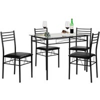 Black Kitchen Table Chairs Vecelo dining table set glass table and 4 chairs metal kitchen room kitchen dining table setglass table and 4 chairsblacksilver workwithnaturefo