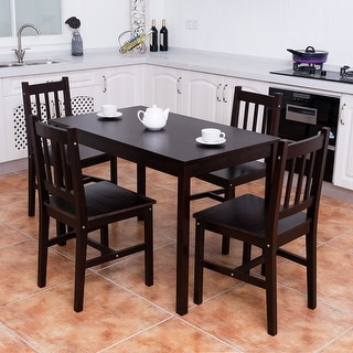 Costway 5PCS Solid Pine Wood Dining Set Table and 4 Chairs Home Kitchen Furniture Brown & Kitchen \u0026 Dining Room Sets For Less | Overstock