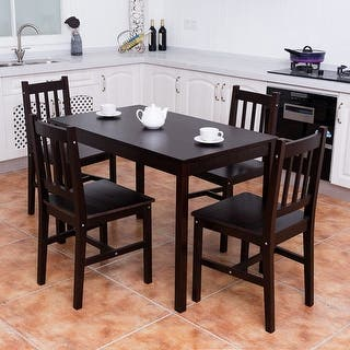 Costway 5PCS Solid Pine Wood Dining Set Table and 4 Chairs Home Kitchen  Furniture Brown. Dining Room Sets For Less   Overstock com