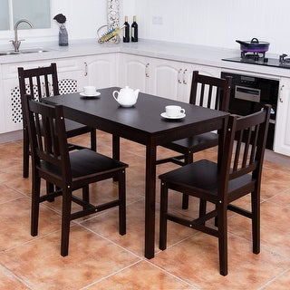 Attractive Costway 5PCS Solid Pine Wood Dining Set Table And 4 Chairs Home Kitchen  Furniture Brown