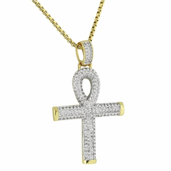 Ankh Cross Pendant Iced Out Hip Hop Symbol Of Life Gold Tone Necklace