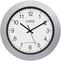 """La Crosse Technology Wt-3102S 10"""" Silver & Black Atomic Wall Clock"""