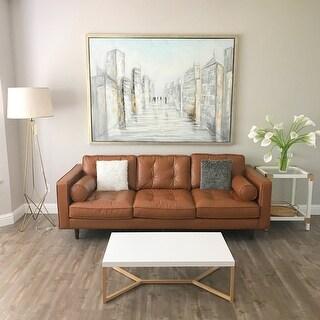 Carson Carrington Metropolitan Leather Caramel Metro Sofa