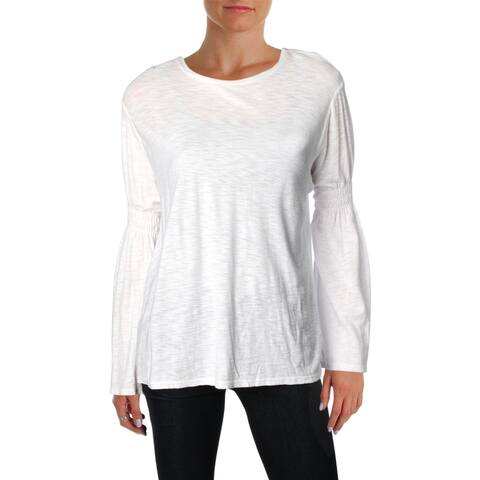 Michelle by Comune Womens T-Shirt Smocked Flare Sleeves