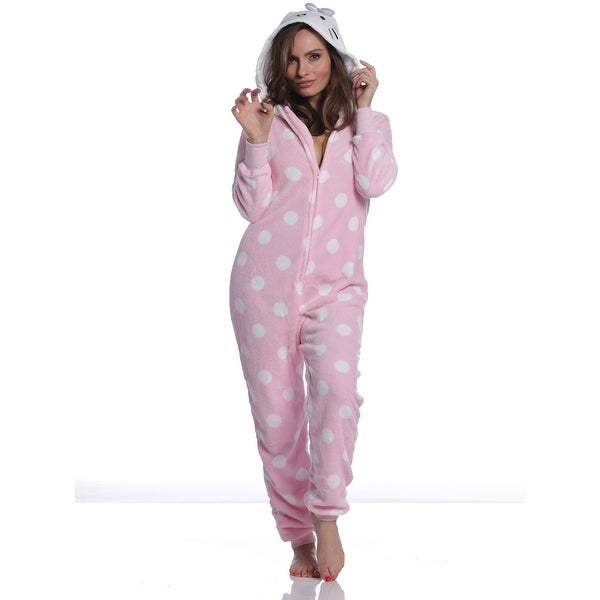 fc52f5416 Shop Hello Kitty Women's Plush Hoodie One Piece Jumper Pink Pajamas ...