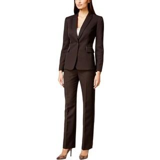 Tahari ASL Womens Petites Pant Suit Shadow Stripe Textured - 8P