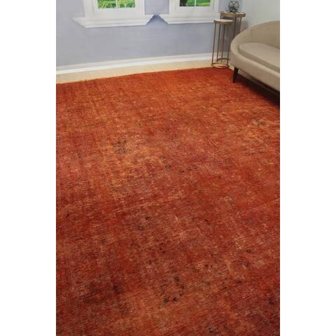 """Noori Rug Vintage Distressed Overdyed Enerstin Orange/Brown Rug - 9'7"""" x 12'8"""""""