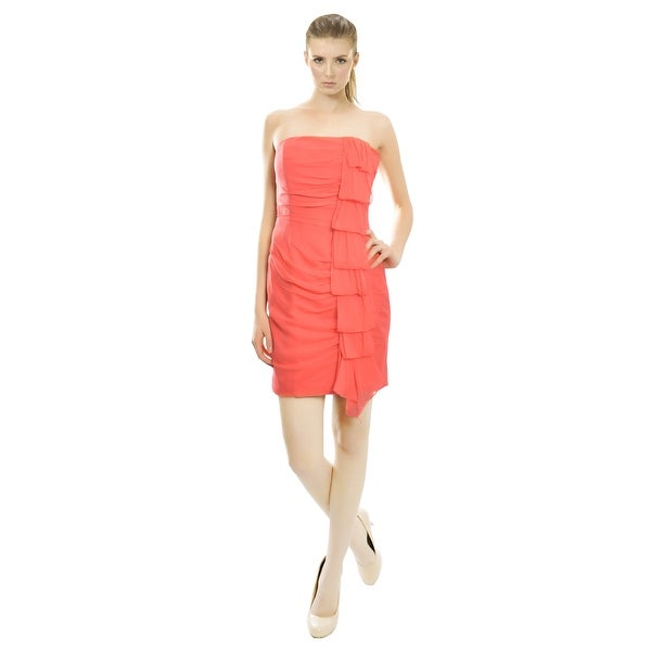 Kurt Thomas Vibrant Silk Ruched Strapless Cocktail Evening Dress - 4