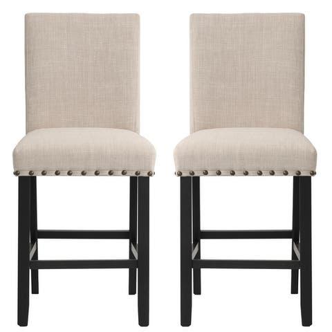 Corvus Riley Linen Upholstered Nailhead Trim Counter Stools (Set of 2)