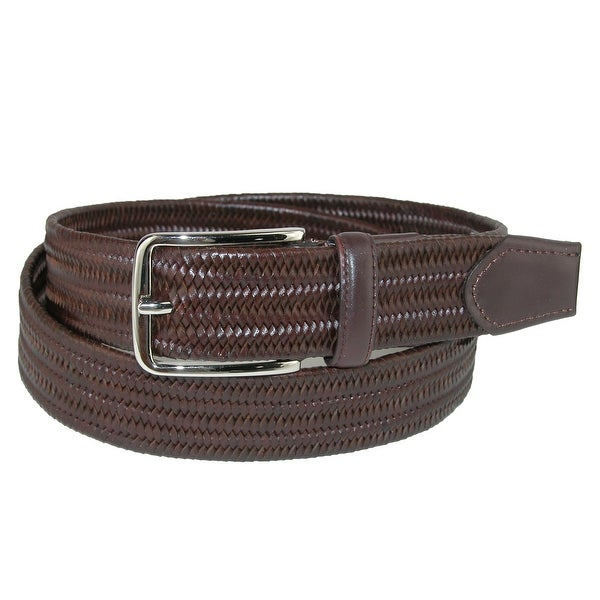 Aquarius Men's Big & Tall Stretch Leather Braided Belt