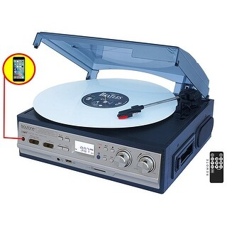Boytone BT-17DJS-C,6 IN1,3 Speed Stereo Turntable 2 Built in Speakers Digital LCD Display AM/FM Radio + Supports USB/SD/AUX+