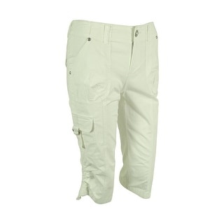INC International Concepts Women's Cropped Cargo Pants - Bright White - 2p