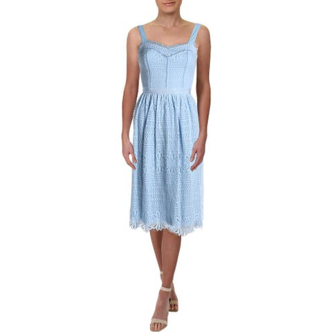 Aqua Womens Midi Dress Lace Ladder Stitch - Sky Blue