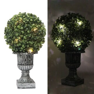 "Kanstar 13"" Decorative Green Artificial Topiary Boxwood Tree Plant in Plastic Pot w/10LED Lights"
