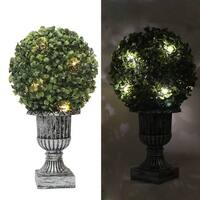 """Kanstar 13"""" Decorative Green Artificial Topiary Boxwood Tree Plant in Plastic Pot w/10LED Lights"""