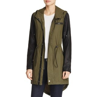 Blank NYC Womens Anorak Jacket Hooded Faux Leather Trim - s