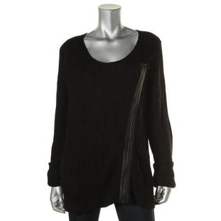 Studio M Womens Jeanette Full Zip Sweater Ribbed Knit Asymmetric
