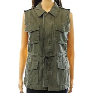 Sanctuary NEW Green Women's Size XS Vest Full-Zipped Pocket-Front Jacket