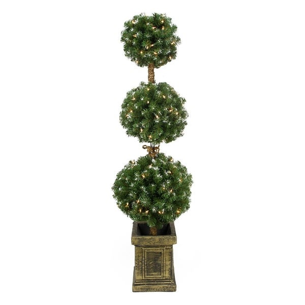 4.5' Pre-Lit Frosted Triple Ball Artificial Topiary Tree in Decorative Pot - Clear Lights