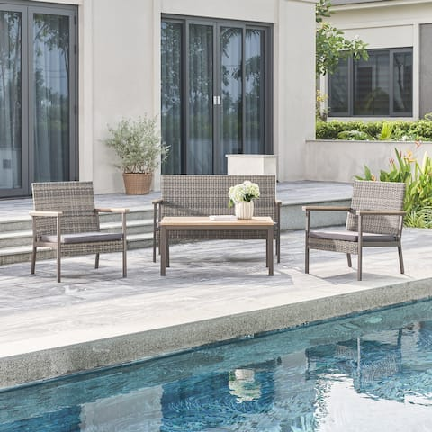 Evelyn 4-Piece All-Weather Outdoor Wicker Mixed Acacia Wood Lounge Sofa Set in Grey with Cushion