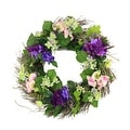 "22"" Decorative Purple & Pink Silk Hydrangea & Dogwood Flower Artificial Spring Floral Wreath - Thumbnail 0"