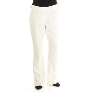 ANNE KLEIN $99 Womens New 1419 Ivory Flat Front Wear To Work Pants 12 B+B
