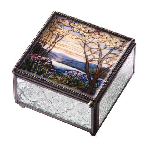 Louis Comfort Tiffany Magnolia Tree Trinket Box - Pressed Glass Jewelry Box - Purple - 4 Inch x 2.5 Inch x 4 Inch