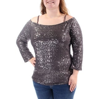 Womens Silver Long Sleeve Boat Neck Top Size XS