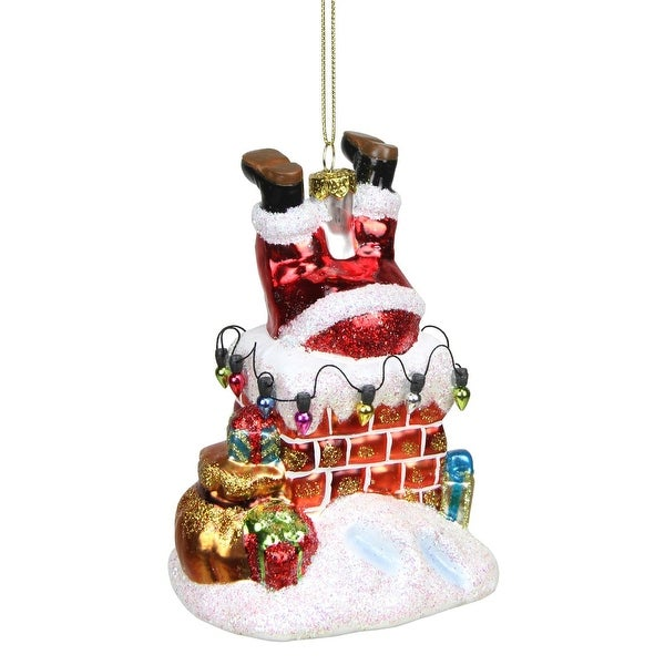 "5"" Santa Sliding Down the Chimney Glass Christmas Ornament - RED"
