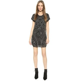Parker Topaz Geometric Beaded Cap Sleeve Sheath Cocktail Dress