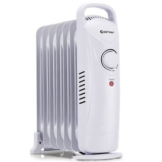Costway 700W Portable Electric Oil Filled Radiator Heater 7-Fin Safety Shut-Off 15'' - White