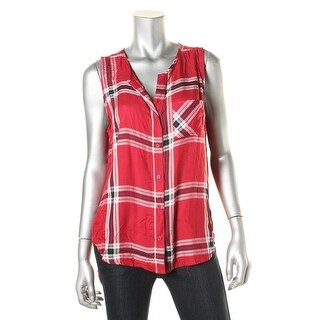 Stoosh Womens Juniors Plaid Split Back Button-Down Top - L