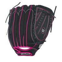 "Wilson Girls Flash 12"" Fast Pitch Glove LHT (Black/Hot Pink)"