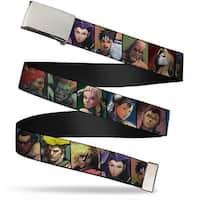 Blank Chrome Buckle Street Fighter 15 Character Face Blocks Webbing Web Belt